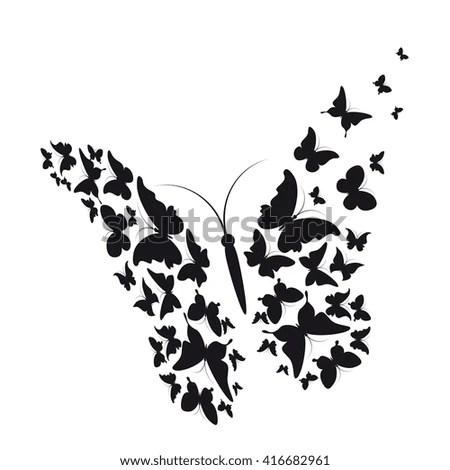 Florals Butterflies Vector Silhouette Stock Vector
