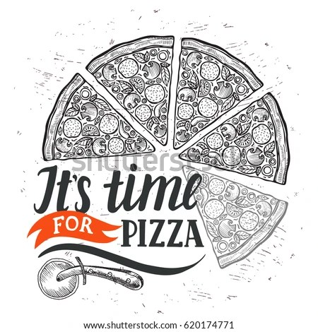 Pizza Food Menu Restaurant Cafe Design Stock Vector