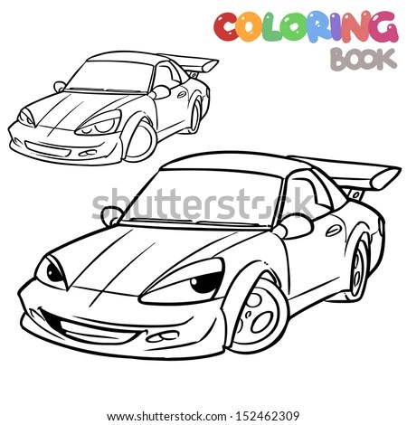 Police Car Character Coloring Page Stock Vector 150468446