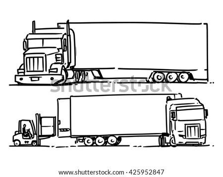 Semi Truck Sketch Illustration Forklift Loading Stock