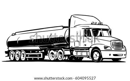 American Tanker Semitruck Isolated On White Stock Vector
