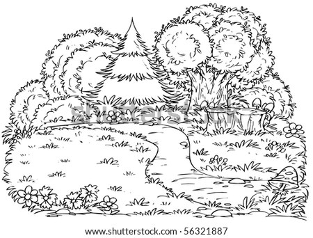Coral Reef Collection Drawn Line Art Stock Vector