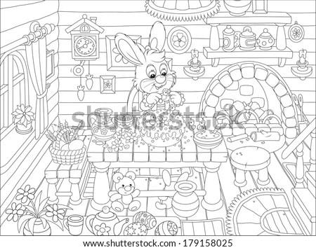 Seascape Line Art Design Coloring Book Stock Vector