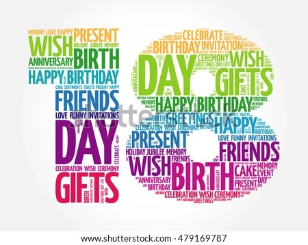 Happy 18th Birthday Word Cloud Collage Stock Vector