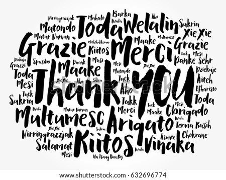 Thank You Word Cloud Background All Stock Vector 632696774