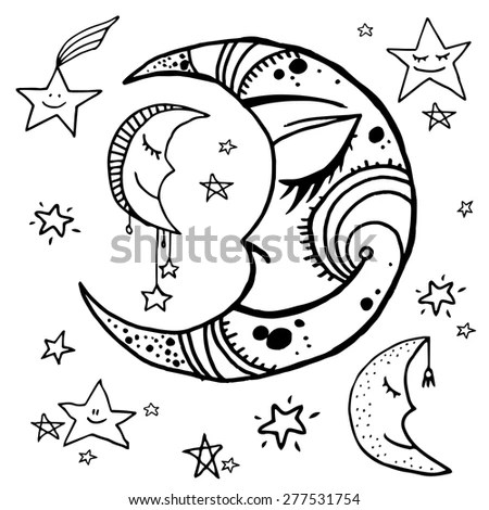 Set Hand Drawn Night Sky Elements Stock Vector 277531754