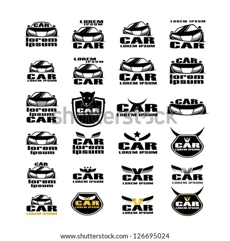 Car Symbols Isolated On White Background Stock Vector