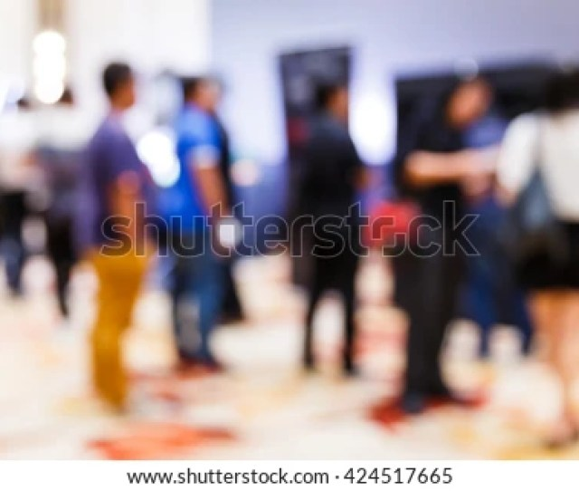 Abstract Blur People In Press Conference Meeting New Product Launching Business Event Concept