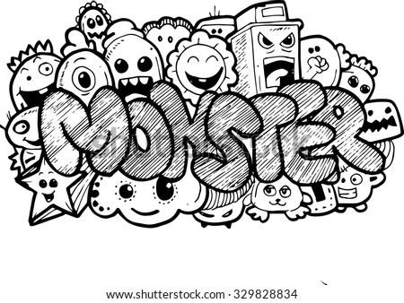 Monster Cartoon Handdrawn Doodle Stock Vector 329828834