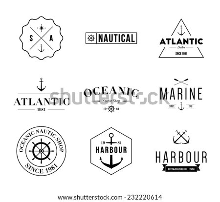 Set Retro Vintage Nautical Labels Badges Stock Vector
