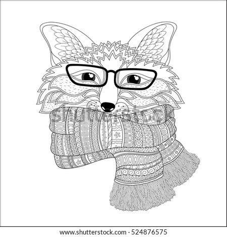 Hand Drawn Wolf Portrait Hipster Glasses Stock Vector