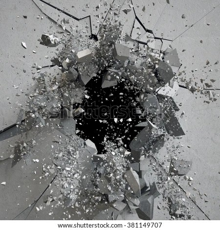 Explosion Cracked Concrete Wall Bullet Hole Stock