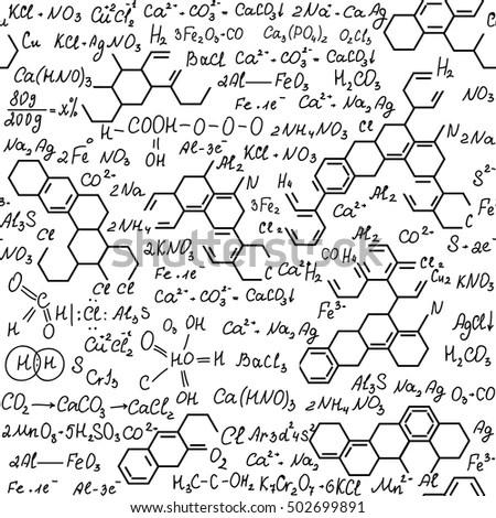 Chemistry Biotechnology Vector Seamless Pattern Formulas