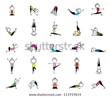 People Practicing Yoga 25 Poses Your Stock Vector