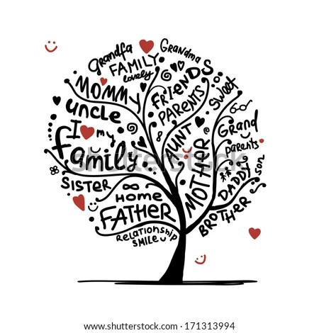 Family Tree Sketch Your Design Stock Vector 171313994