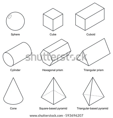 3d Shape Set Isolated On White Stock Vector 593696207
