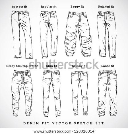 Denim Fit Vector Sketch Set Stock Vector 128028014