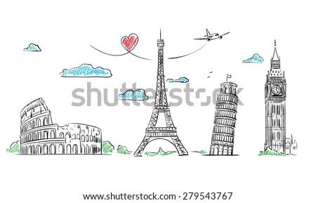 European Cities Symbols Sketch Hand Drawn Stock Vector