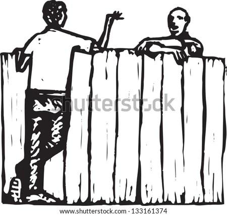 Black White Vector Illustration Male Neighbors Stock