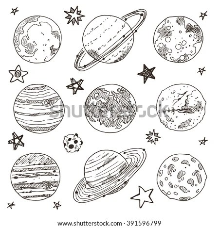 Set Hand Drawn On Chalkboard Planet Stock Vector 246007621