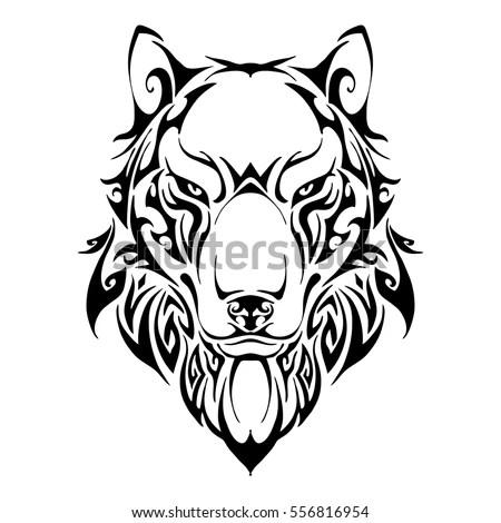 Wolf Head Symmetry Balance Tribal Tattoo Stock Vector