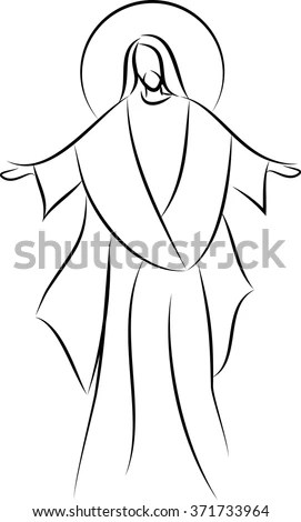 Jesus Christ Simple Line Drawing Vector Stock Vector