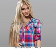 long blonde hair stock