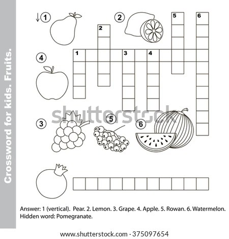 Fruit Crossword Kids Task Answer Colorless Stock Vector