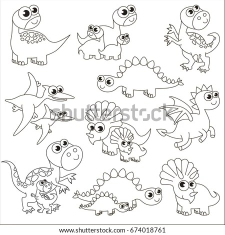Dinosaur Kids Mothers Elements Set Collection Stock Vector