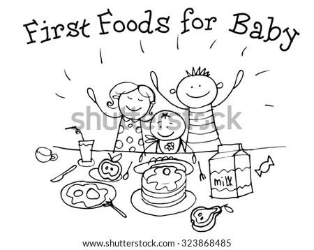 Food Nutrition Kids Healthgraphic Sketch Vector Stock