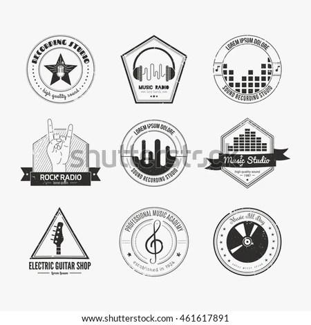 Collection Music Logos Made Vector Recording Stock Vector
