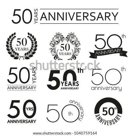 50 Years Anniversary Icon Set 50th Stock Vector (Royalty