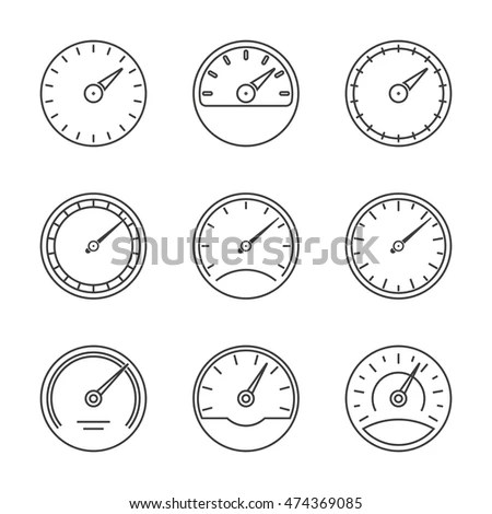 Speedometer Gauge Icons Set Isolated On Stock Vector