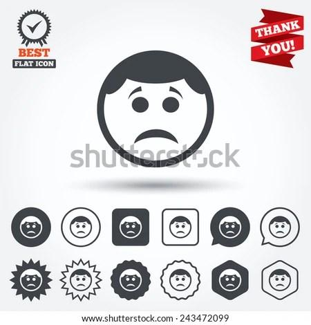Sad face sign icon. Sadness depression chat symbol. Circle