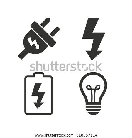 Electric Plug Icon Lamp Bulb Battery เวกเตอร์สต็อก