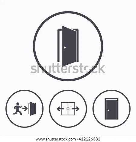 Automatic Door Icon Emergency Exit Human Stock Vector