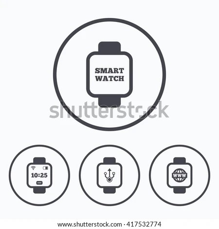 Smart Watch Icons Wrist Digital Time Stock Vector