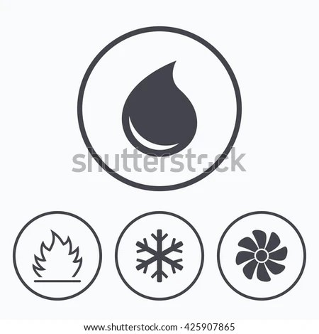 Hvac Icons Heating Ventilating Air Conditioning Stock