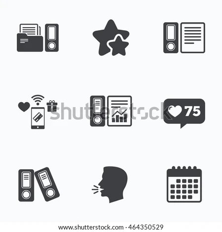 Accounting Report Icons Document Storage Folders Stock