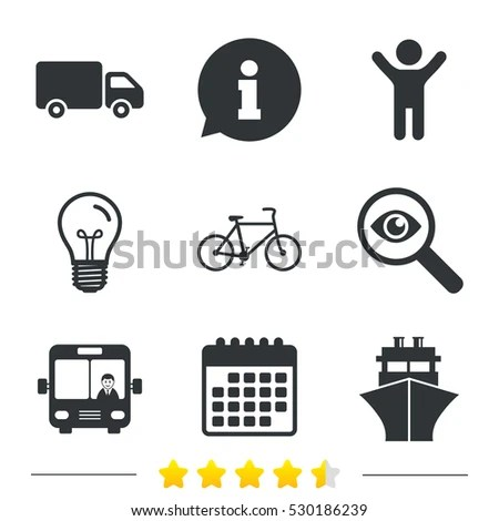 Transport Icons Truck Bicycle Public Bus Stock