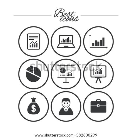 Statistics Accounting Icons Charts Presentation Pie Stock