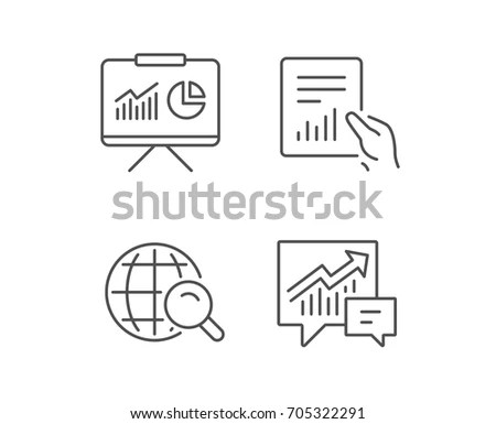 Education Study Icon Presentation Signs Report Stock