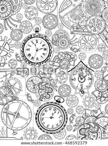 Retro Mechanisms Machines Steampunk Style On Stock Vector