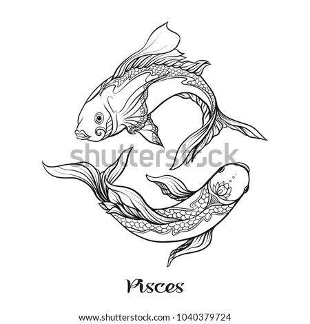 Pisces Fishes Zodiac Sign Astrological Horoscope Stock