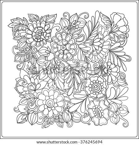 Decorative Vintage Flowers Pattern Good Coloring Stock