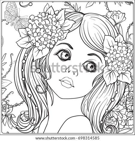 Vector Pattern Beautiful Girl Flowers Design Stock Vector