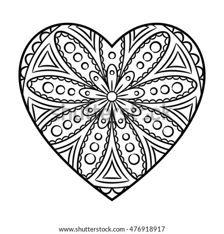 Doodle Heart Mandala Coloring Page Outline เวกเตอร์สต็อก