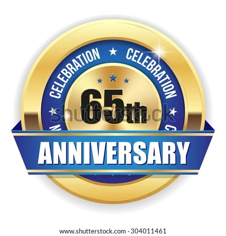 red 65th anniversary badge