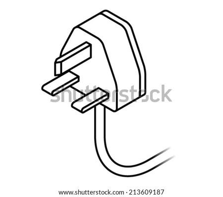 International AC Power Plug UK Singapore Stock Vector