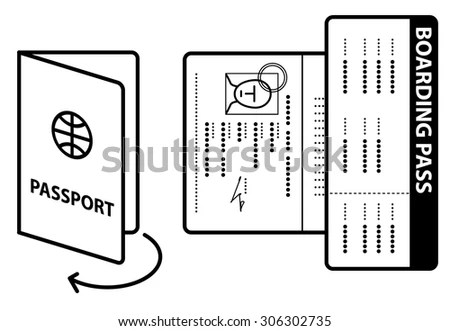 Diagram / instructions to open passport to photo page and